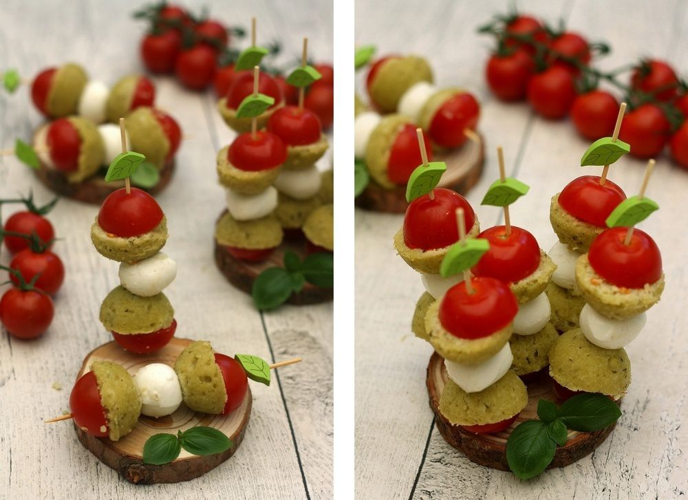 Brochettes apéritives au pesto, mozzarella et tomates cerises