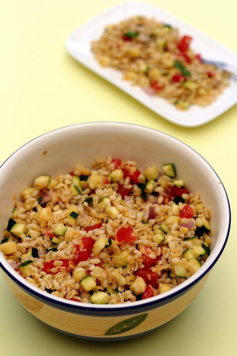 Salade de bl lentilles corail courgette et tomates amandine cooking - Peut on donner du riz cuit aux oiseaux ...