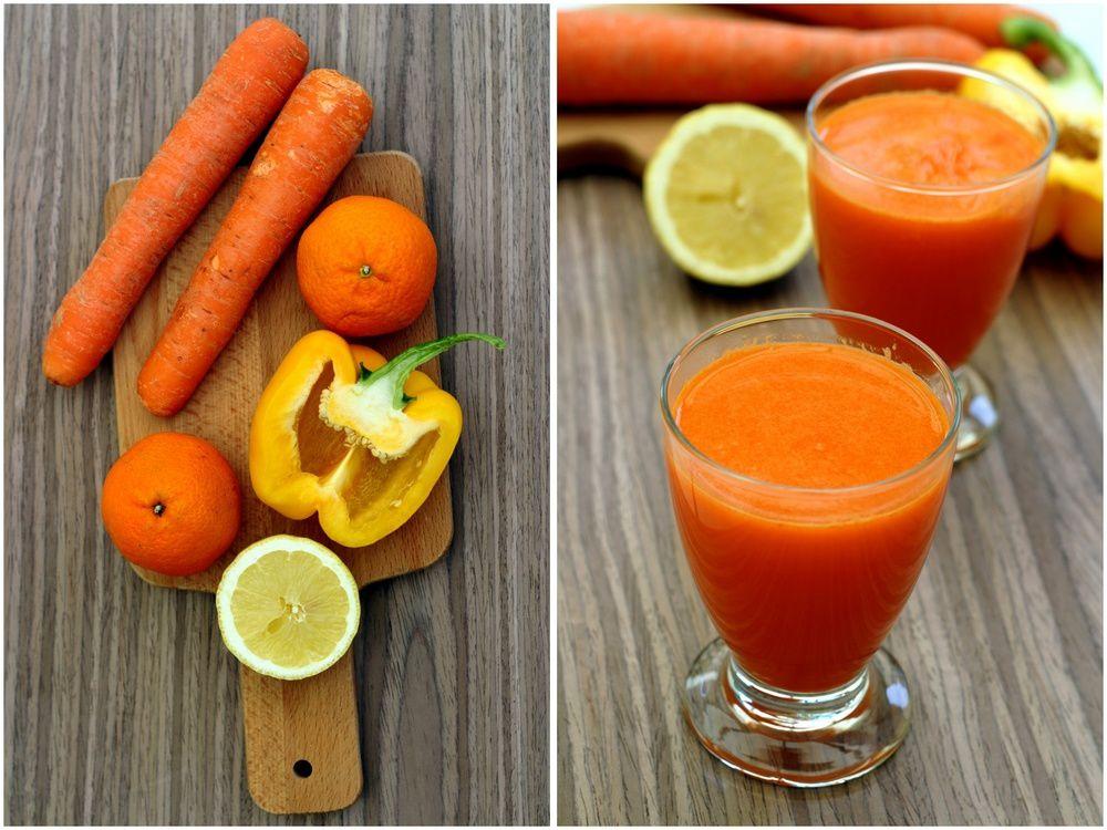Jus d'oranges, carotte et poivron jaune