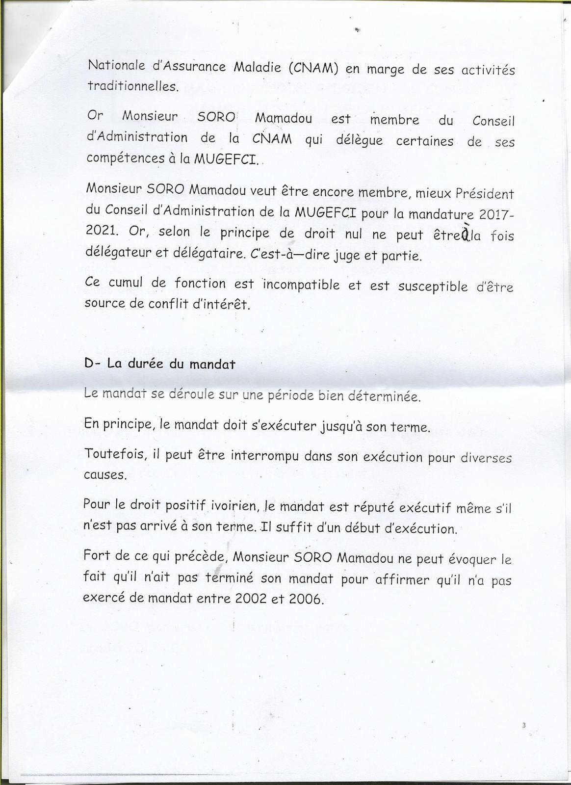 MUGEFCI: SORO MAMADOU  PCA SORTANT, DANS L ILLEGALITE POUR UN TROISIEME MANDAT