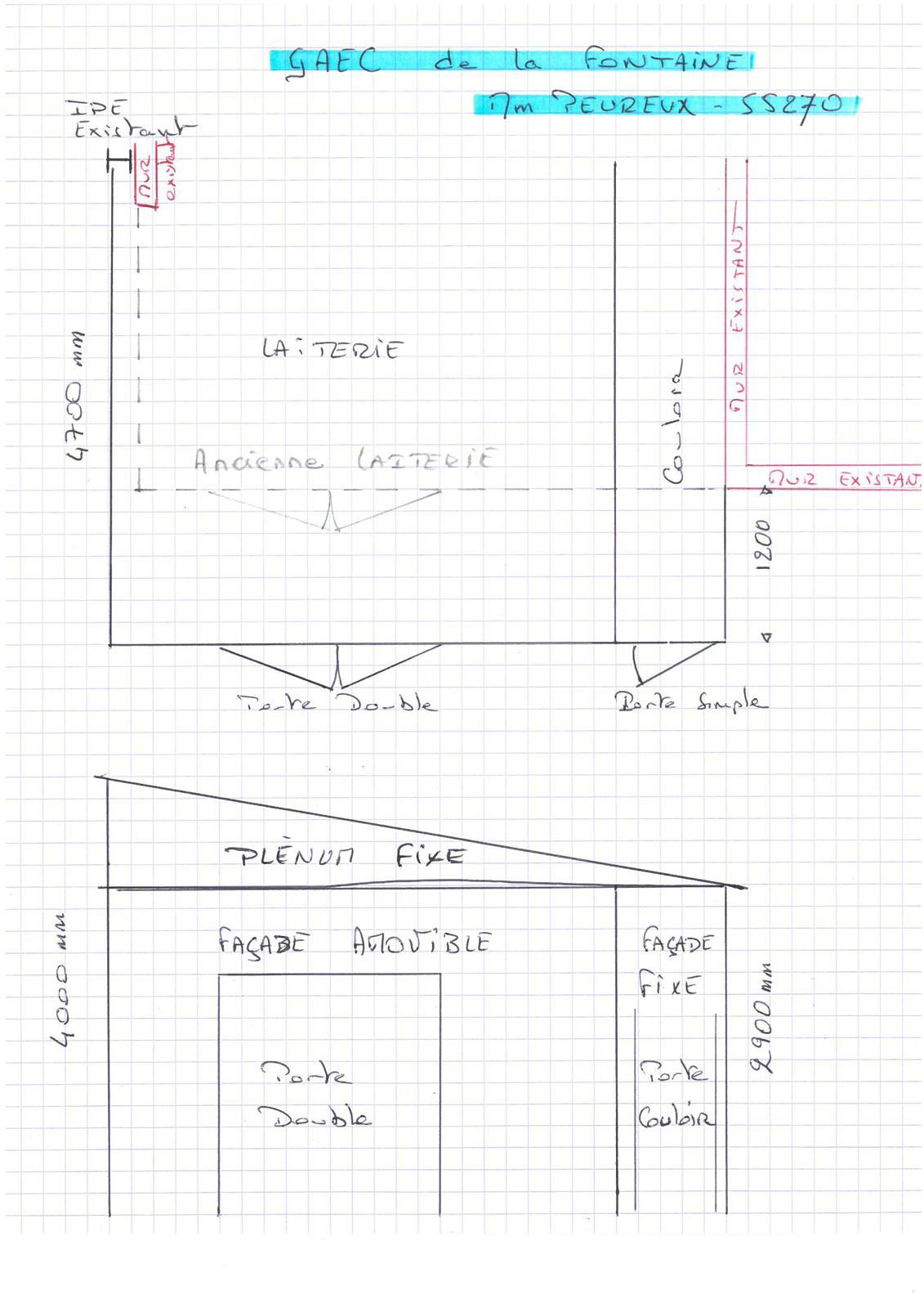 Boureuilles (55270) : extension d'une salle de traite en modulaire en kit