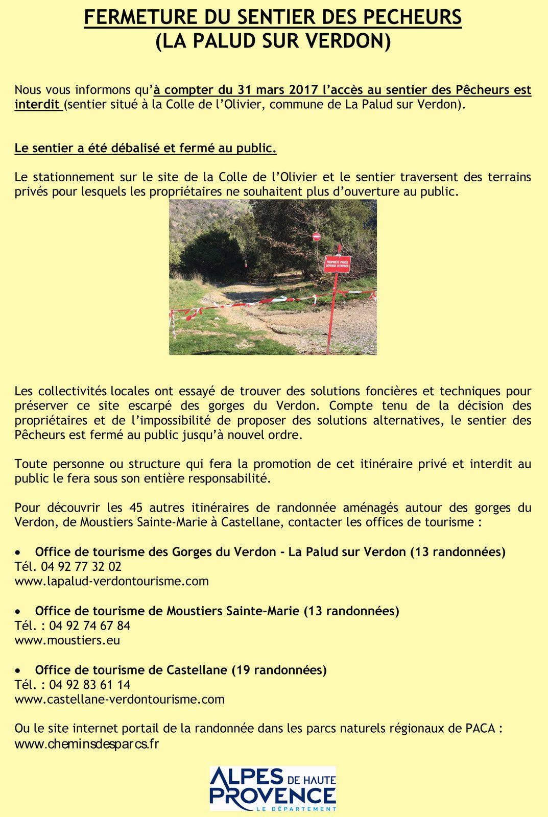 FERMETURE DU SENTIER DES PECHEURS ( Gorges du Verdon )
