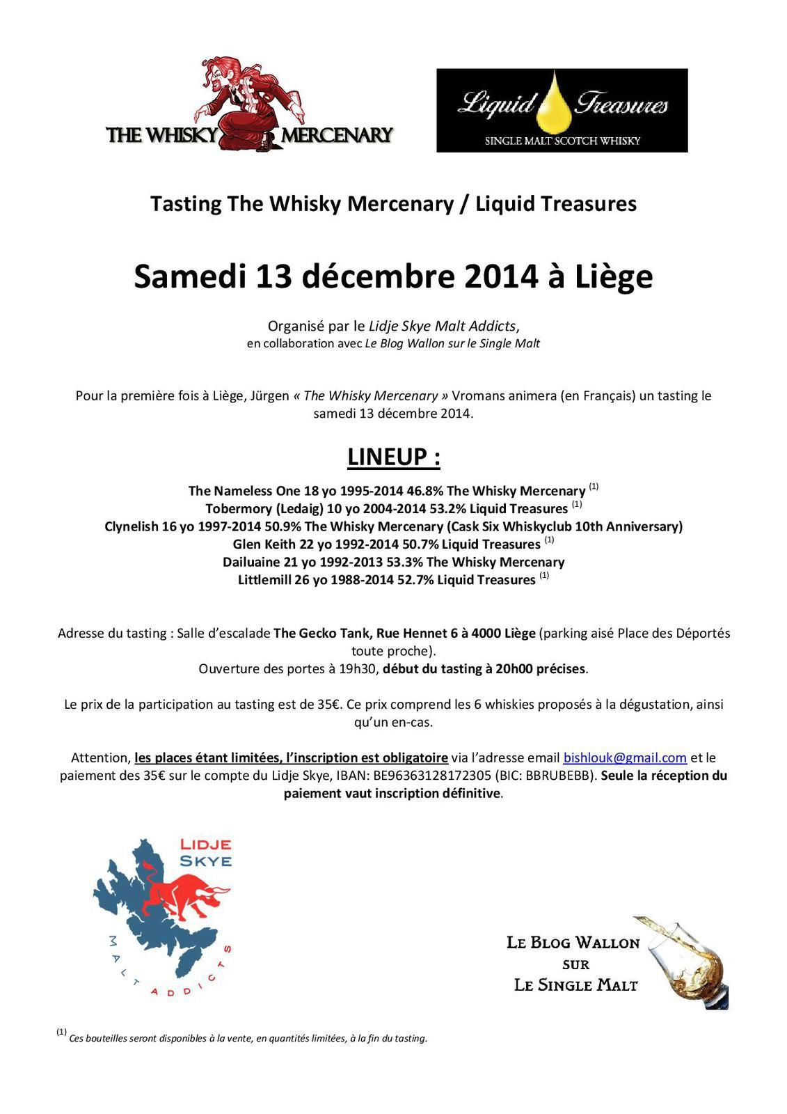 Samedi 13/12/2014: Tasting The Whisky Mercenary / Liquid Treasures à Liège