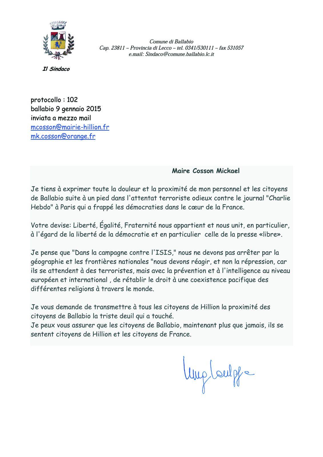 Témoignage de solidarité du maire de Ballabio