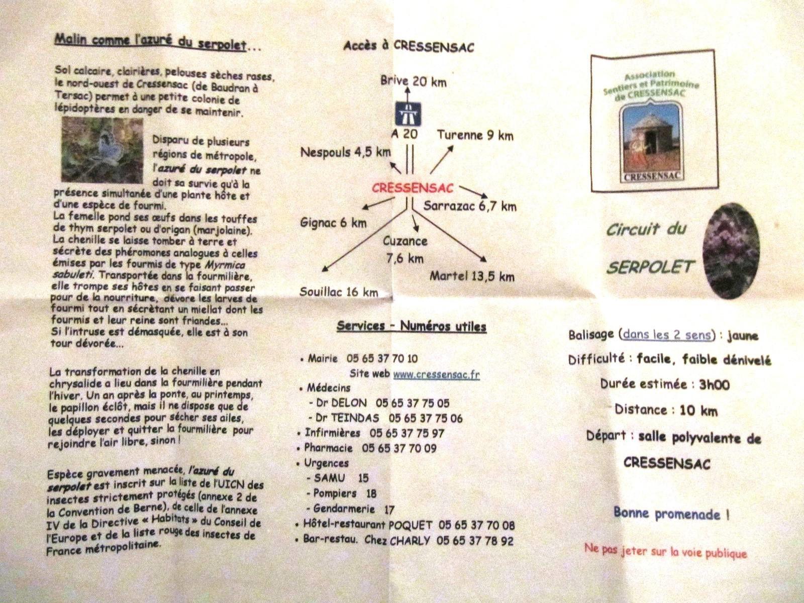CRESSENSAC, le circuit du SERPOLET, 02/01/2016