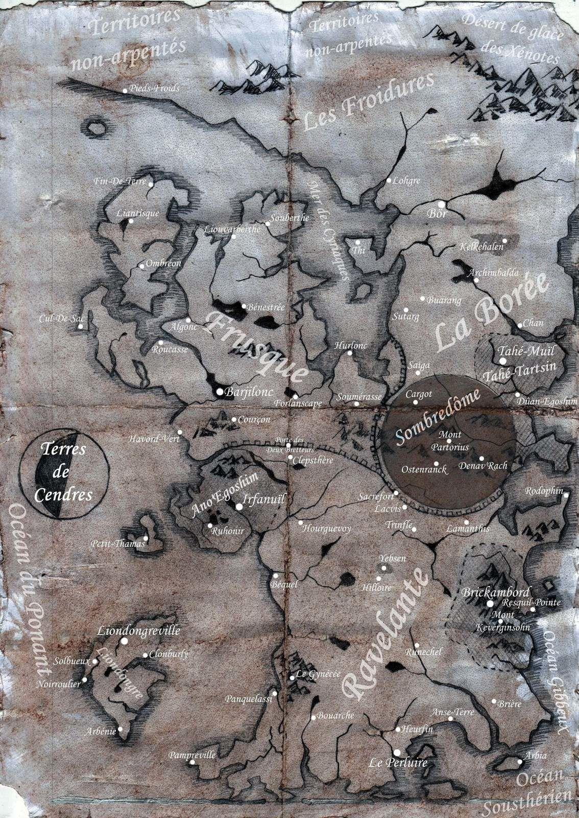 Une carte des Terres de Cendres.