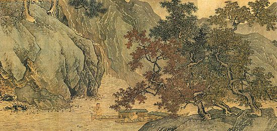 T'ang Yin : Hermit Fisherman in Streams and Mountains. Ming dynasty handscroll / ink and color on silk. Source: http://www.nigensha.co.jp/kokyu/item.html?id=52