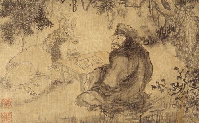 """Comprendre les arbres, les plantes, mais aussi les animaux, tous les êtres vivants, et les Éléments: l'eau, l'air, le feu, la terre. Comprendre, au sens de """"sympathie"""", """"accord"""", car il faut reconnaître que la Nature est un secret et un mystère. Peinture coréenne."""