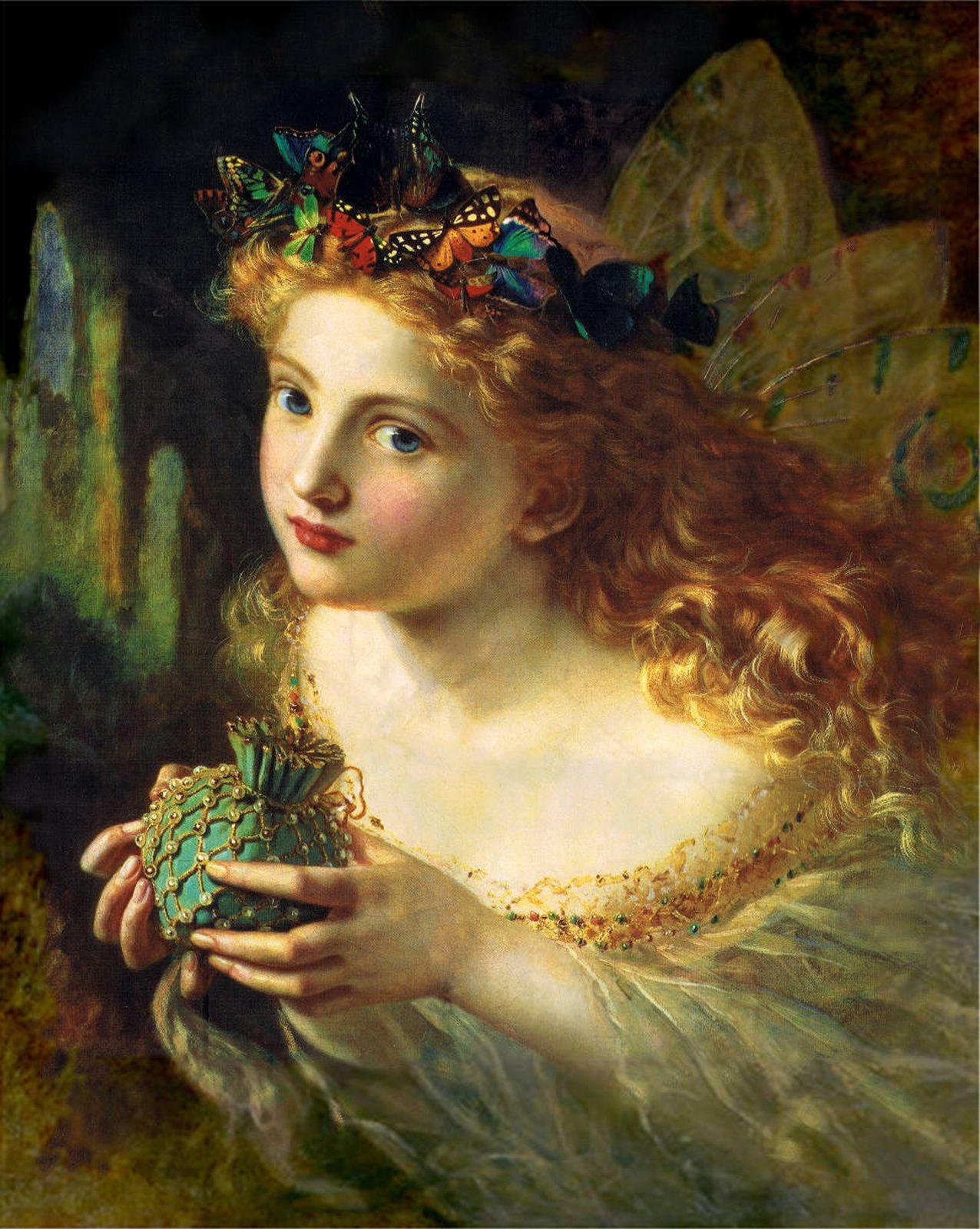 Peinture préraphaélite représentant une fée. Take the Fair Face of Woman, and Gently Suspending, With Butterflies, Flowers, and Jewels Attending, huile sur toile, Sophie Anderson (1823 - 1903), collection privée, Londres.