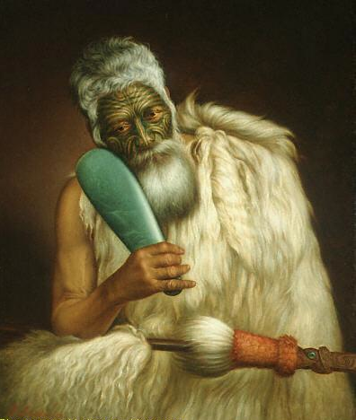 Chief of the Te Āti Awa Tribe Wiremu Kingi holding a jade mere (painted by Gottfried Lindauer)