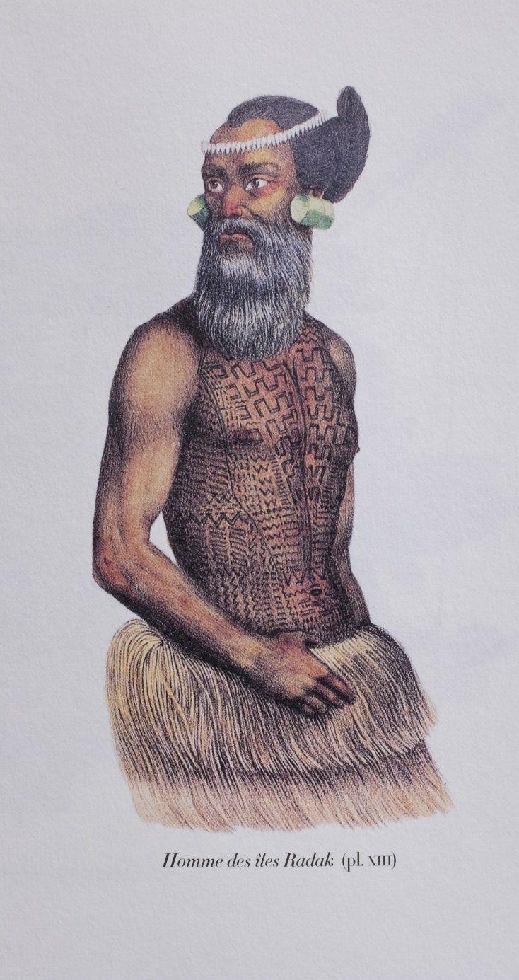 Homme  des îles Radak, dans le Pacifique. Peinture de Louis Choris. Voyage dans le Pacifique (1815-1818). Editions Chandeigne (2008)