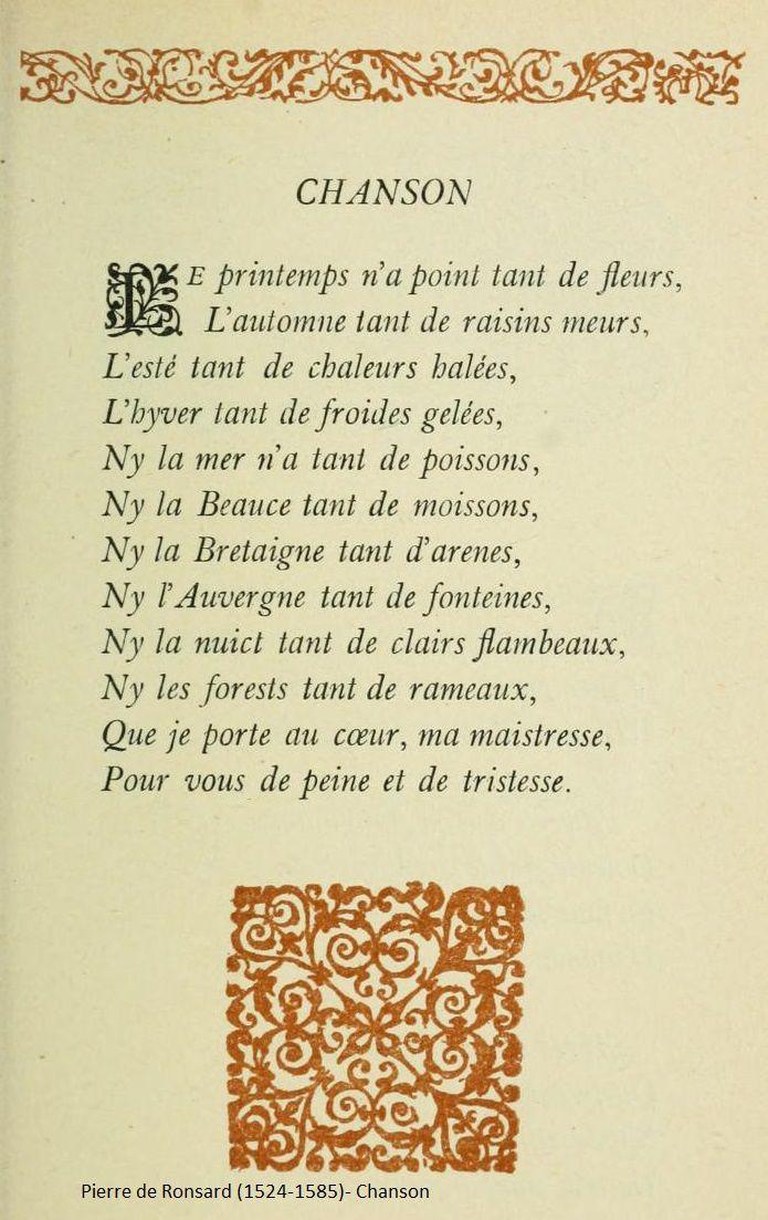 Deux poèmes de Ronsard
