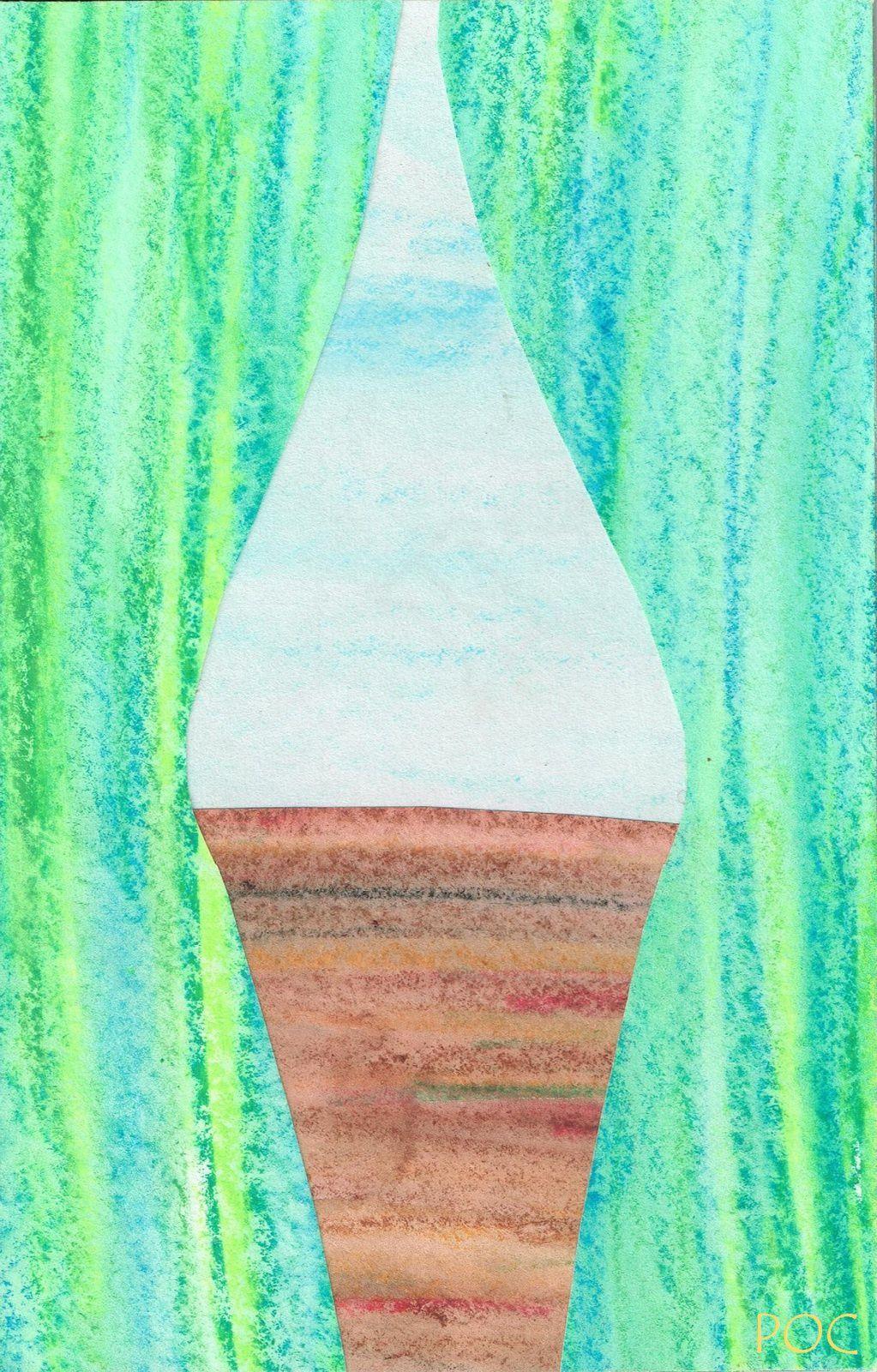 Vue imaginaire de la vallée du Célé, dans le Lot, d'une fenêtre du château de Goudou qui la surplombe. Papiers peints avec les craies aquarellables Neocolor, découpés et collés. Pierre-Olivier Combelles, Ville d'Avray, 2 mai 1992