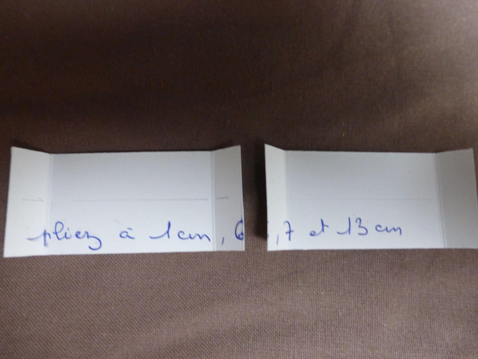 marquez les plis à 1cm,6,7,13 et couper à7cm
