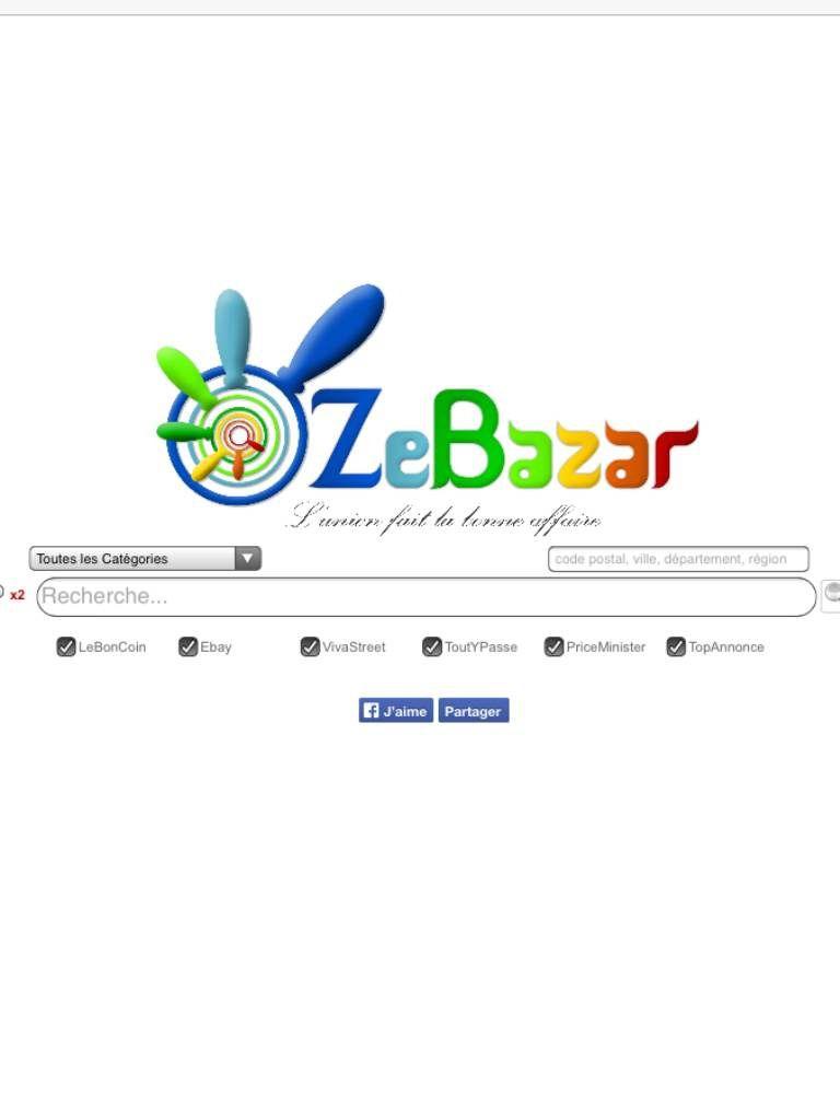 La page d'accueille de Zebazar .