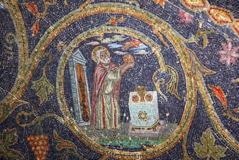 Melchizedek Mosaic in the Latin Chapel of the Nailing to the Cross, Jerusalem