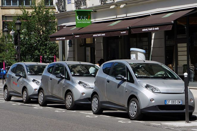 Bluecar EV in charge at the Bluecar station in Paris