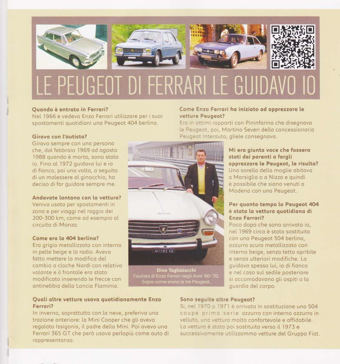 Article Enzo Ferrari favorite car Peugeot