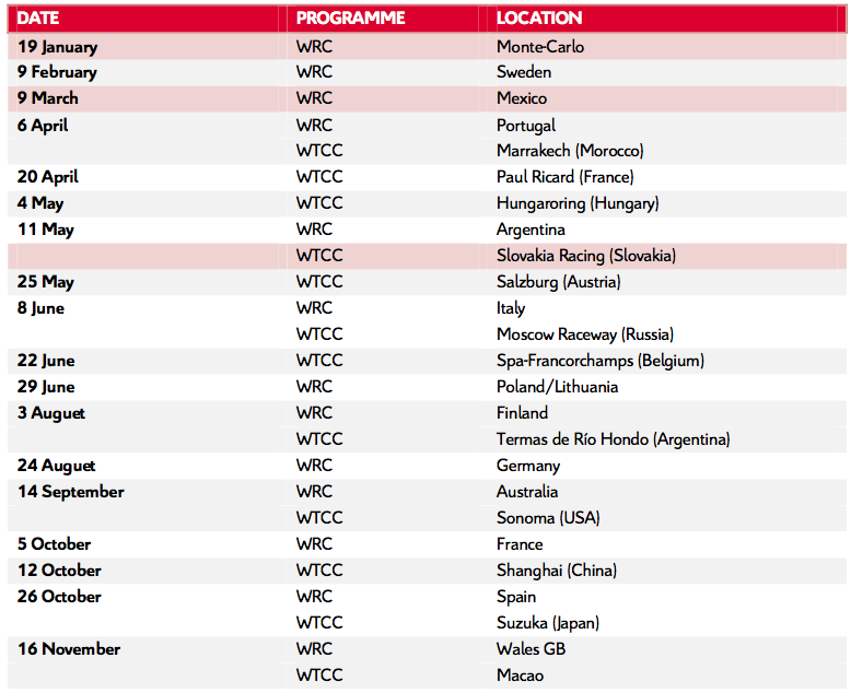 2014 Citroën Racing Calendar