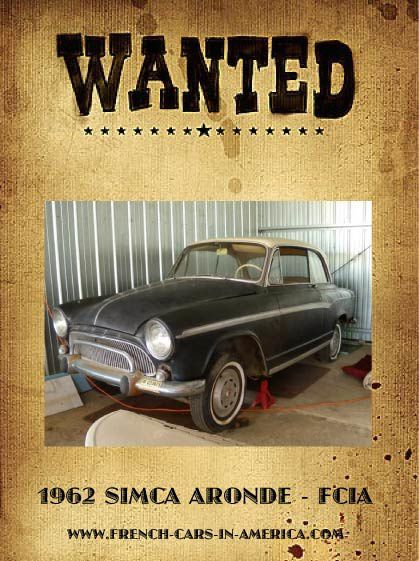 WANTED 1962 SIMCA ARONDE