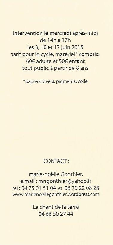 RAPPEL : ATELIER D'ART PLASTIQUE AVEC MARIE-NOËLLE GONTHIER