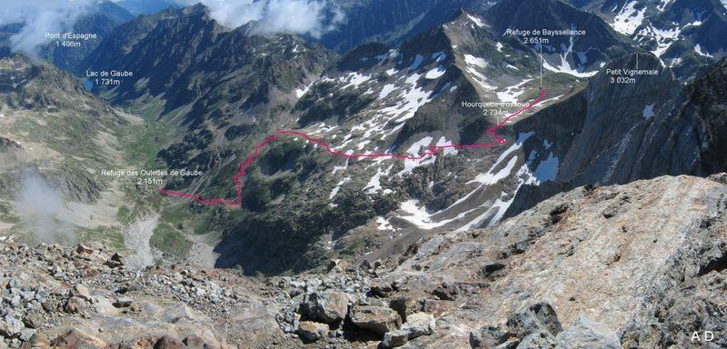 aperçu du début de parcours depuis le Pont d'Espagne (1460m) jusqu'au refuge de Baysselance (2650m)