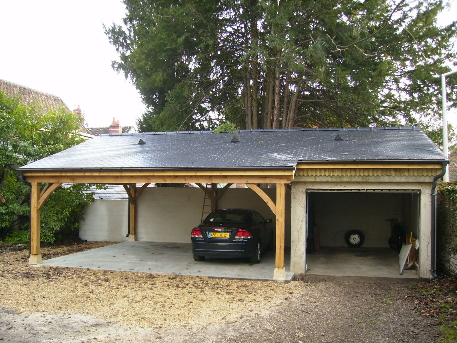 Garage en chene 2 voitures le blog du menuisier de la for Budget pour construction garage