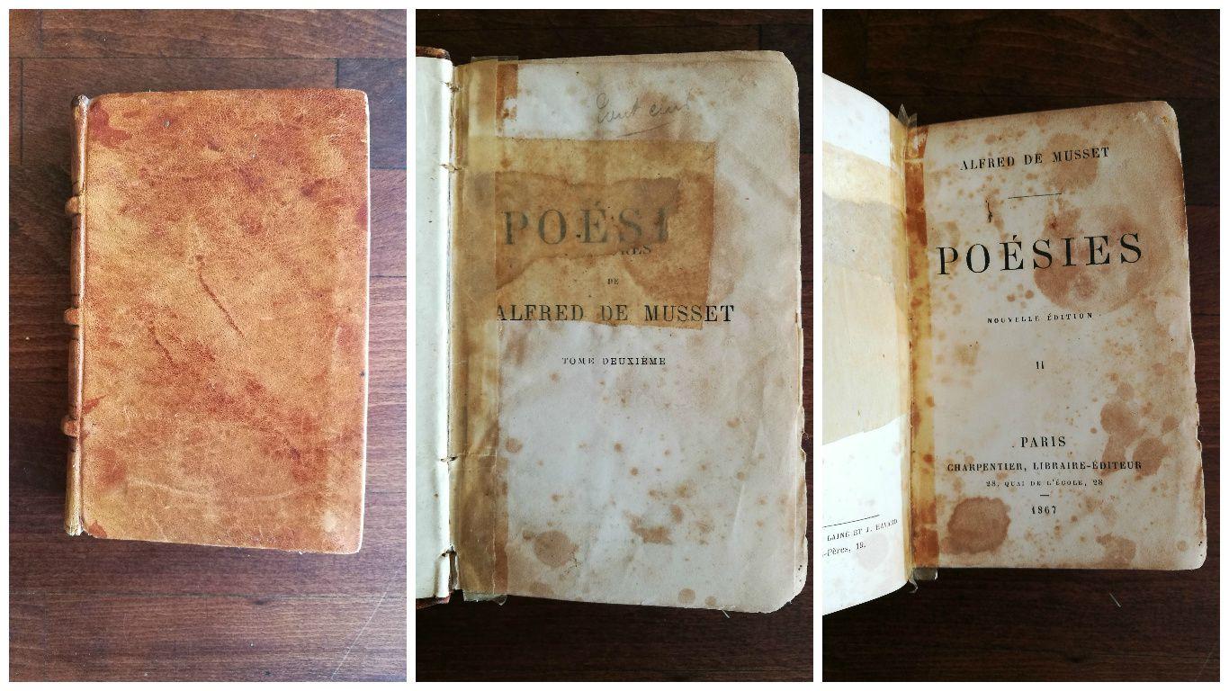 J'aime beaucoup le livre de poésie de Musset qui est très usé et très réparé, ça augmente son charme je trouve