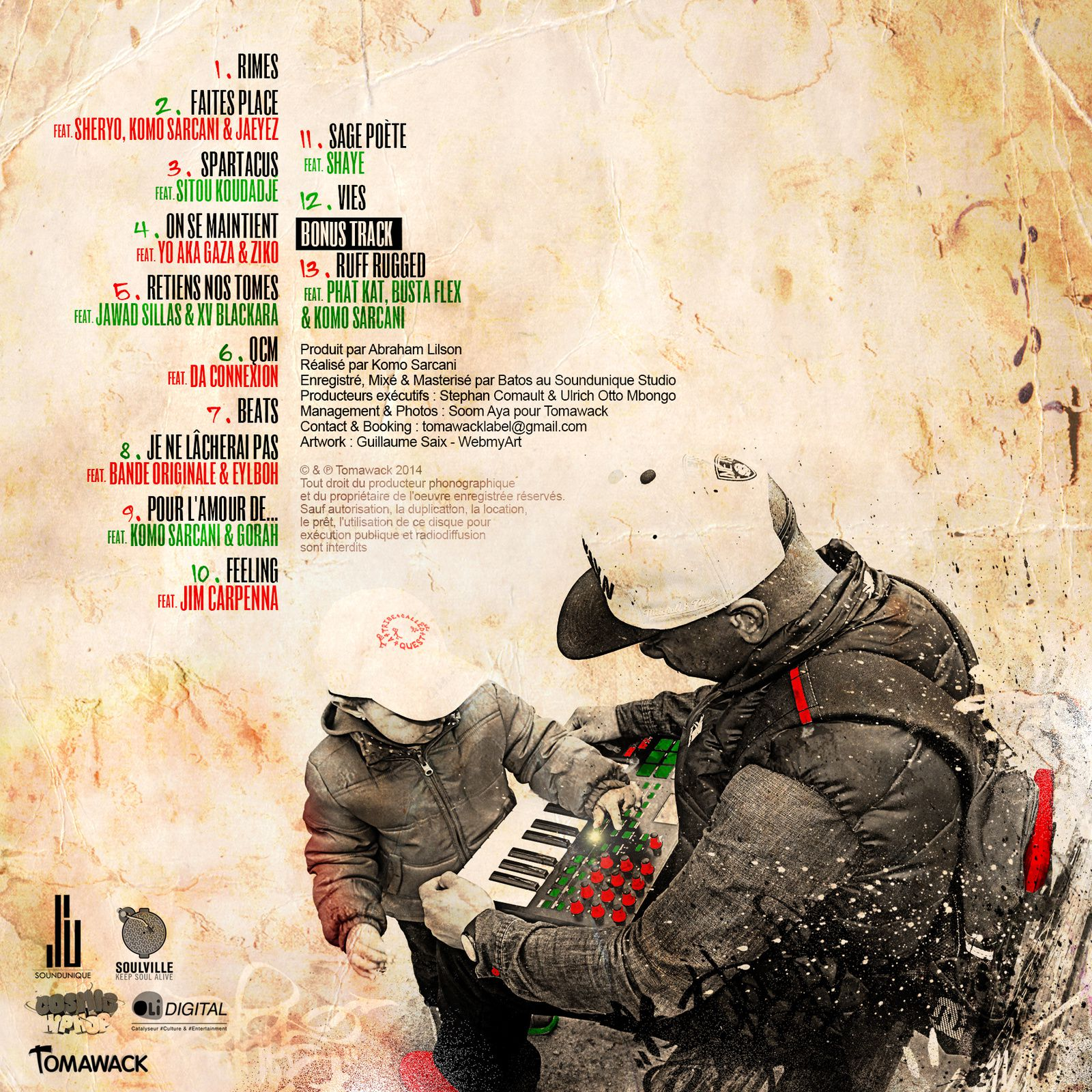 "artwork album & vinyl Abraham Lilson ""Beats, rimes & vie"""