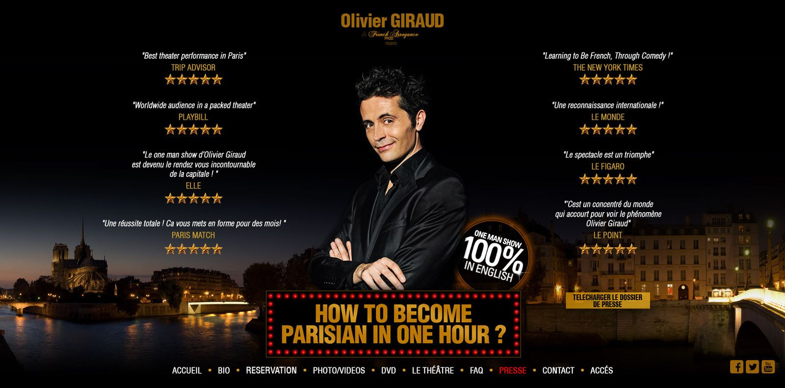 """Artwork pour le One Man Show d'Olivier Giraud """"How to become parisian in one hour"""""""