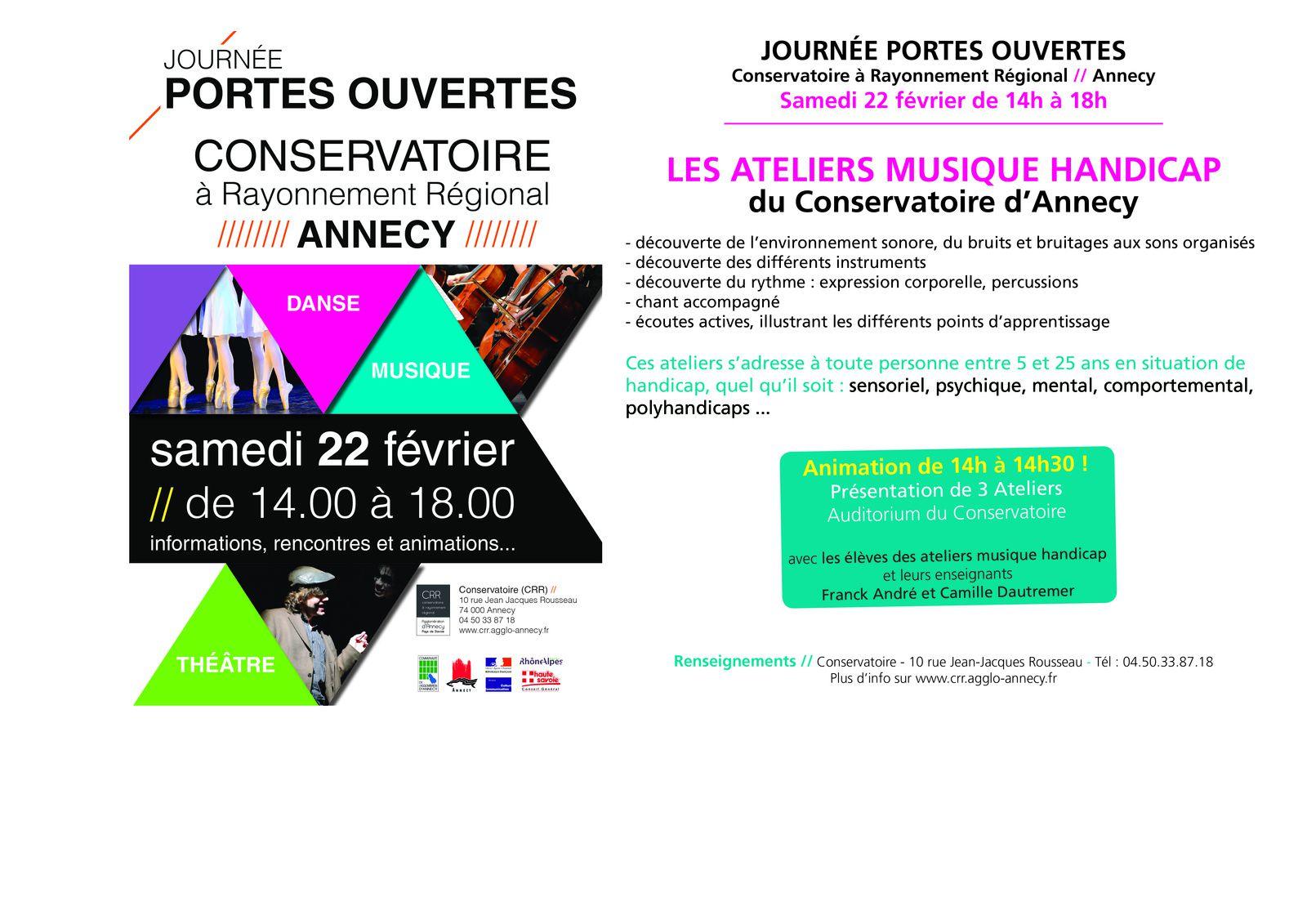 Portes ouvertes conservatoire Annecy, musique et handicap