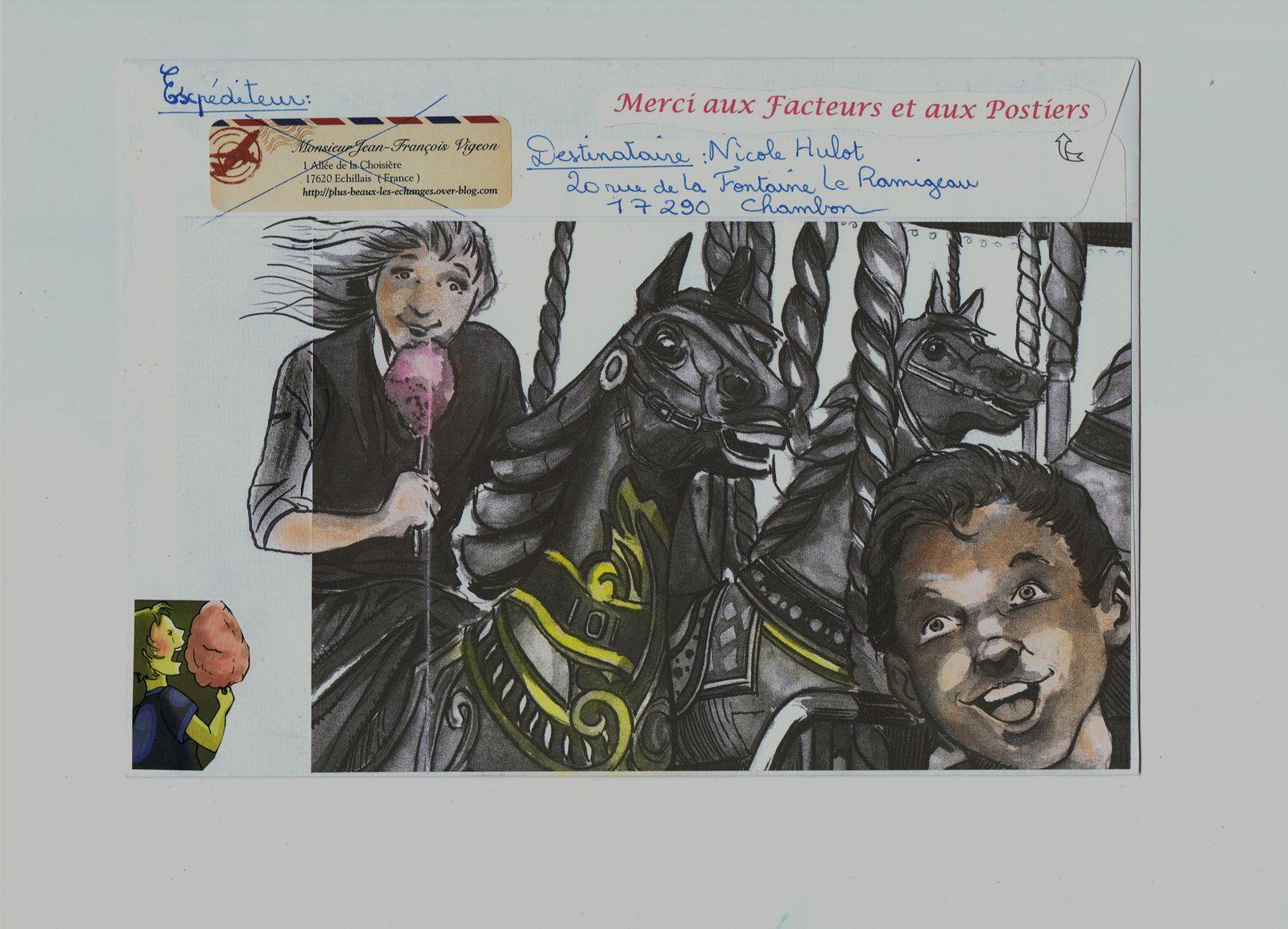 Et photocopies colorisées au pastel pour Nicole Hulot.