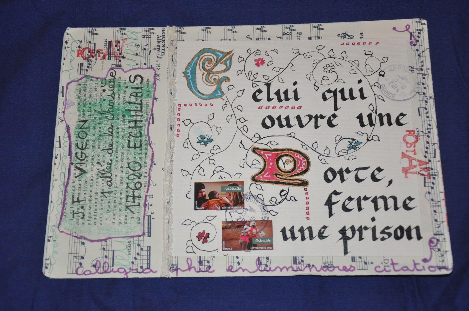 Merci à Annick Serpault pour cette magnifique calligraphie enluminée! J'adoooooooooore!