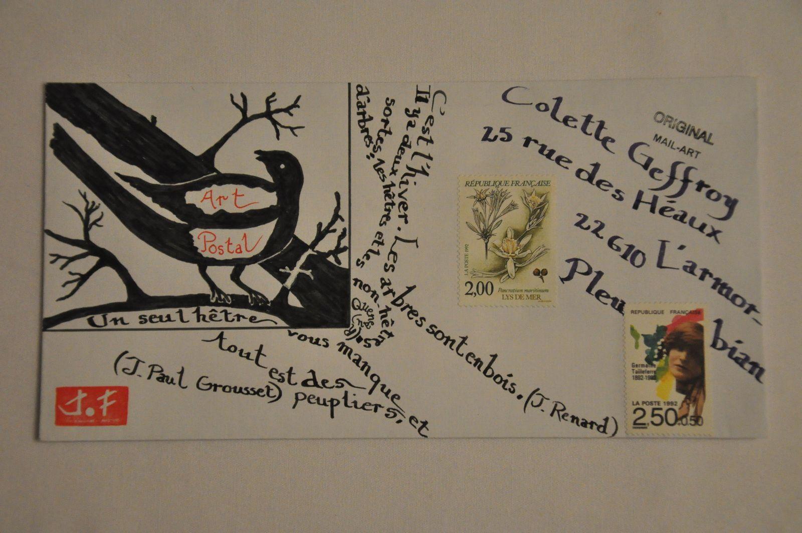 Pour Colette Geffroy cette tentative de dessin+calligramme.
