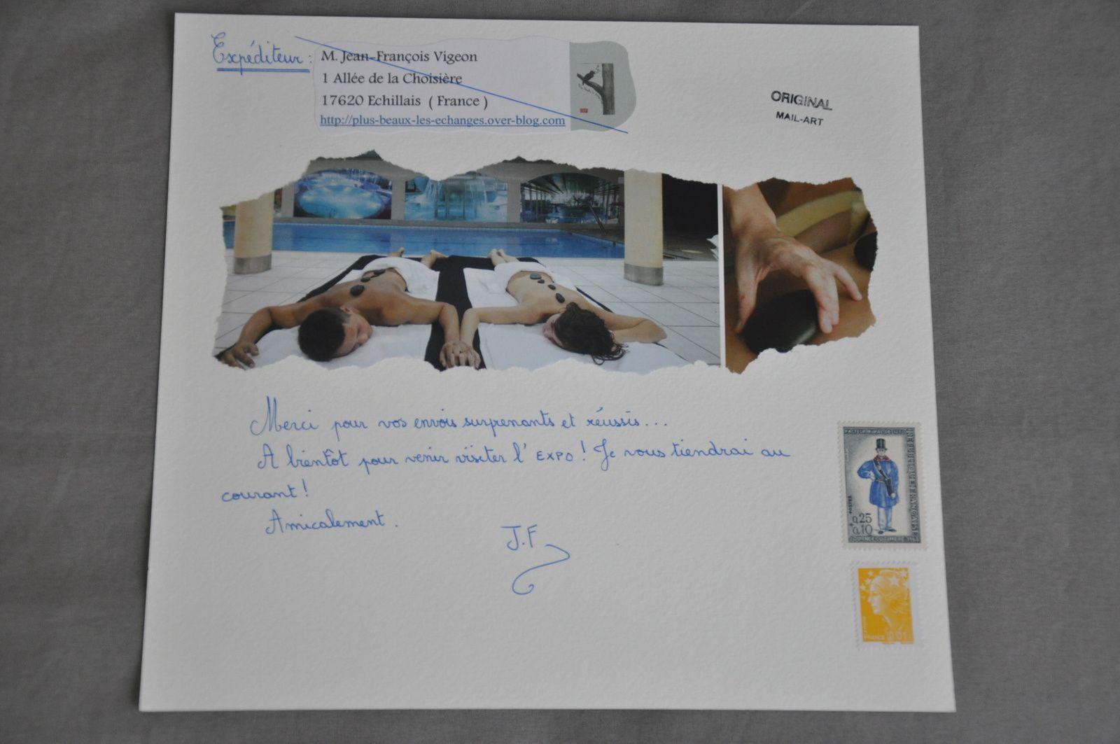 Calligraphie, tampon, collage  et dessin  pour Jean-Michel Trouche.