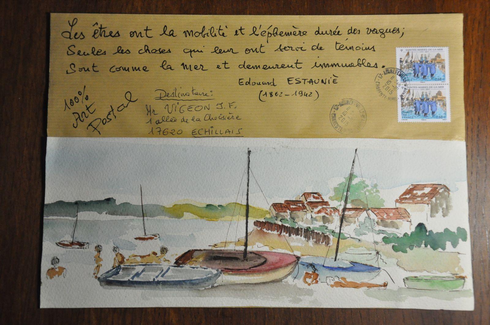 Merci de nouveau à Jean-Michel Trouche qui est toujours atteint du virus de l'ARt postal et c'est tant mieux! La Poste, bienveillante, a protégé l'une de ces oeuvres! MERCI!