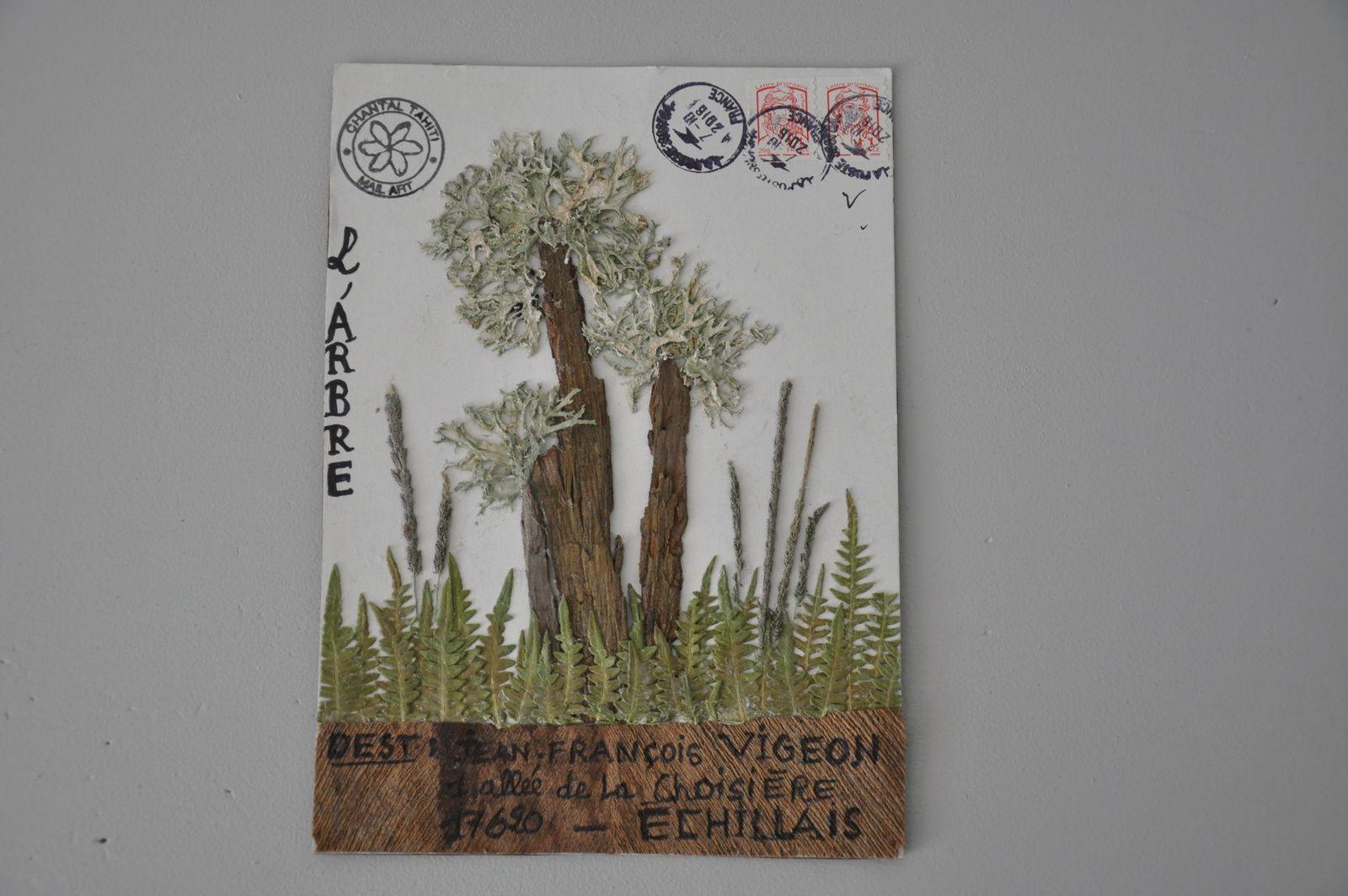 Merci à Chantal Casamayor de Planta pour ce beau Mail-Art végétal sur le thème de l'arbre.