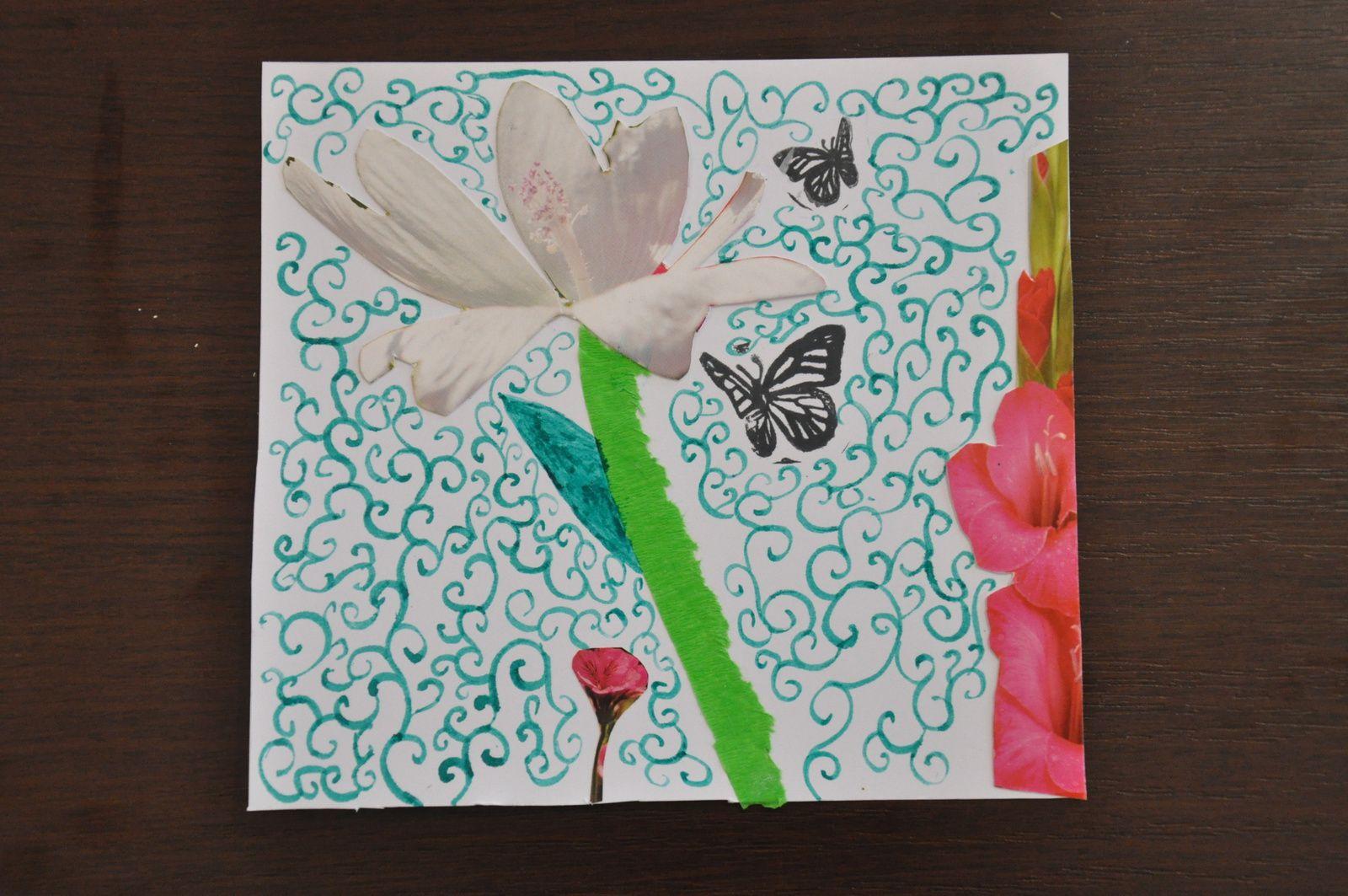 """En premier l'atelier puis en vrac des images de l'exposition sur les thèmes : Mer, Oiseaux, Papillons, Fées-Sorcières-Monstres et Compagnie. En dernier, les trois réalisations de mes """"élèves..."""
