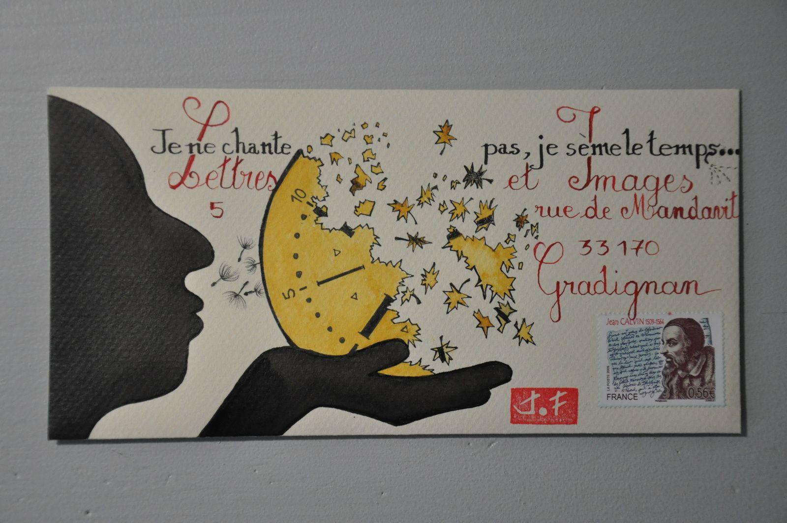"""Ce dessin à l'encre de Chine et aquarelle est pour """"Lettres et Images"""" qui lance un appel sur le thème du temps."""