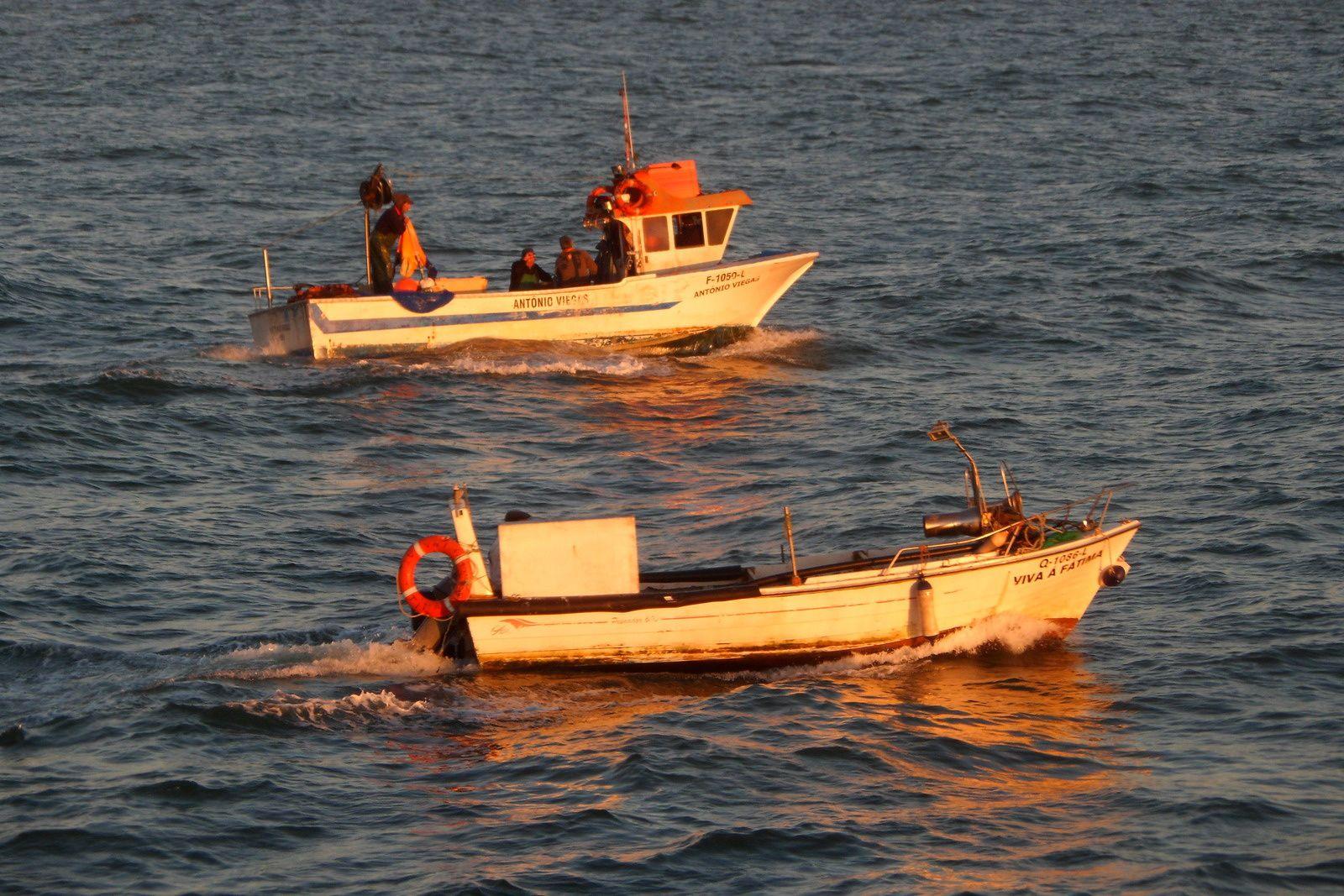 des pêcheurs prennent le large au soleil couchant