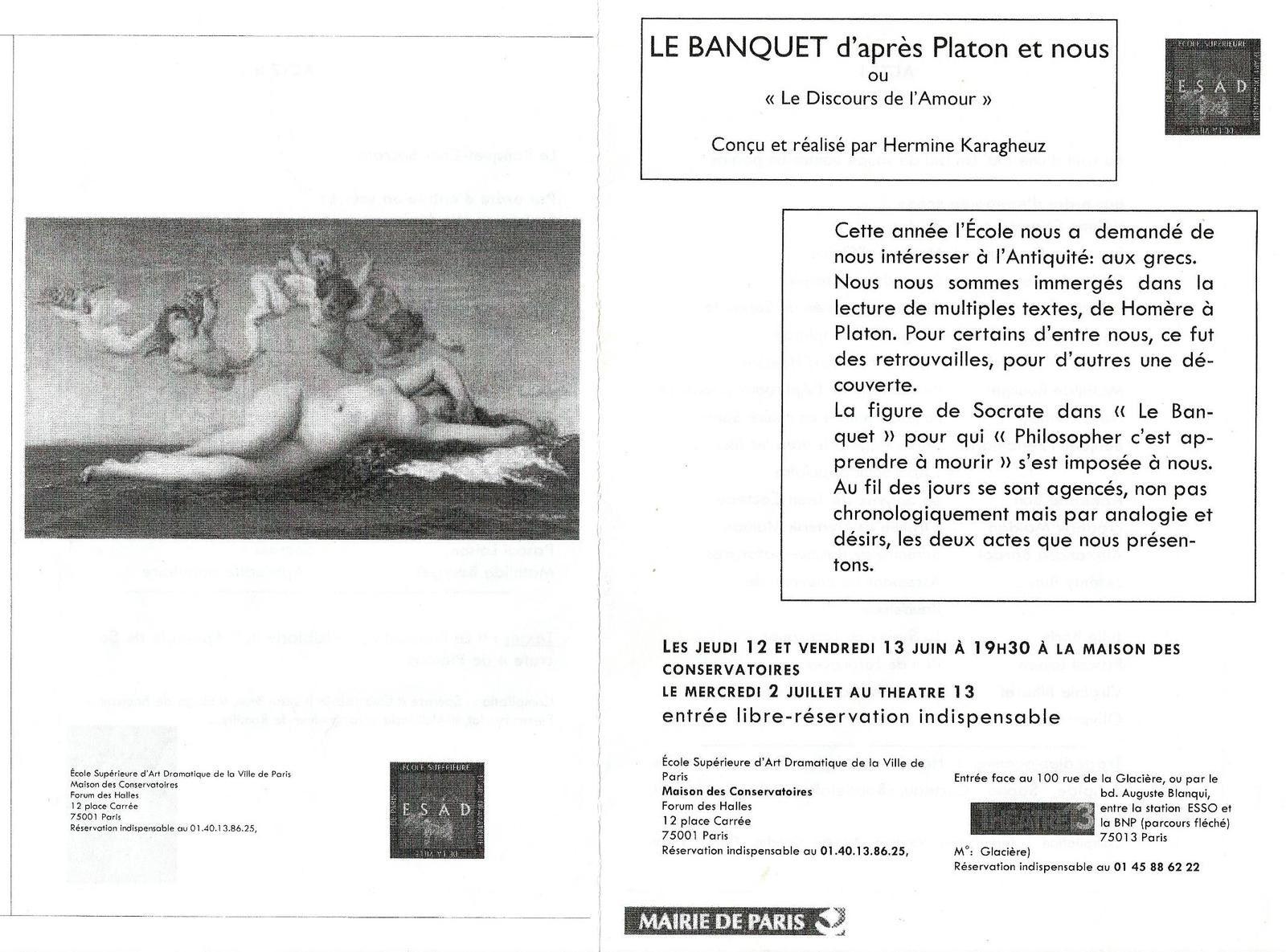 LE BANQUET D'APRES PLATON ET NOUS ou &quot&#x3B;Le Discours de l'Amour&quot&#x3B; - Ecole Supérieure d'Art Dramatique de la Ville de Paris (Maison des conservatoires)
