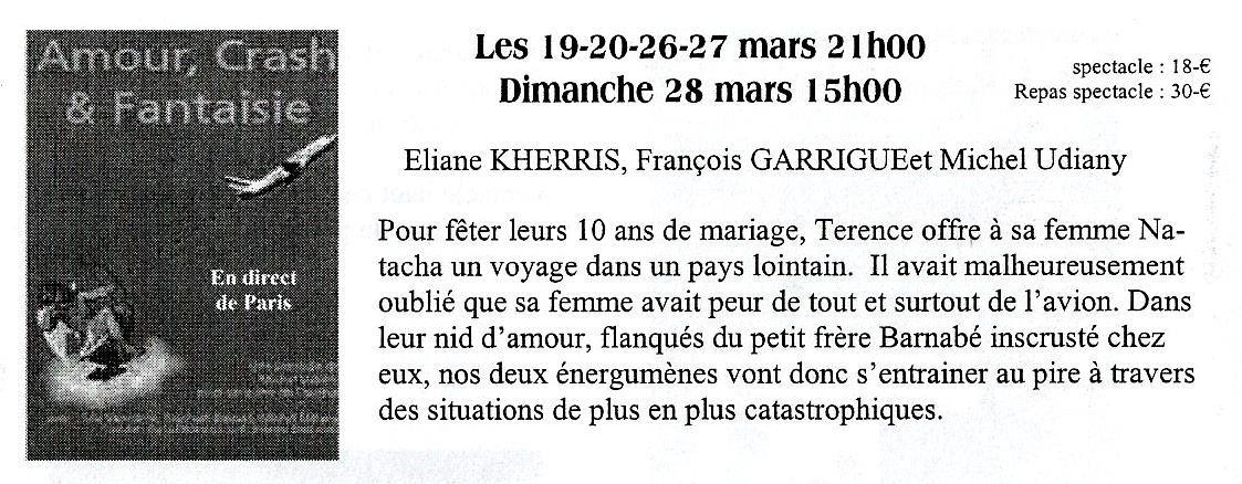 AMOUR, CRASH ET FANTAISIE - Théâtre Comme Chez Toi !