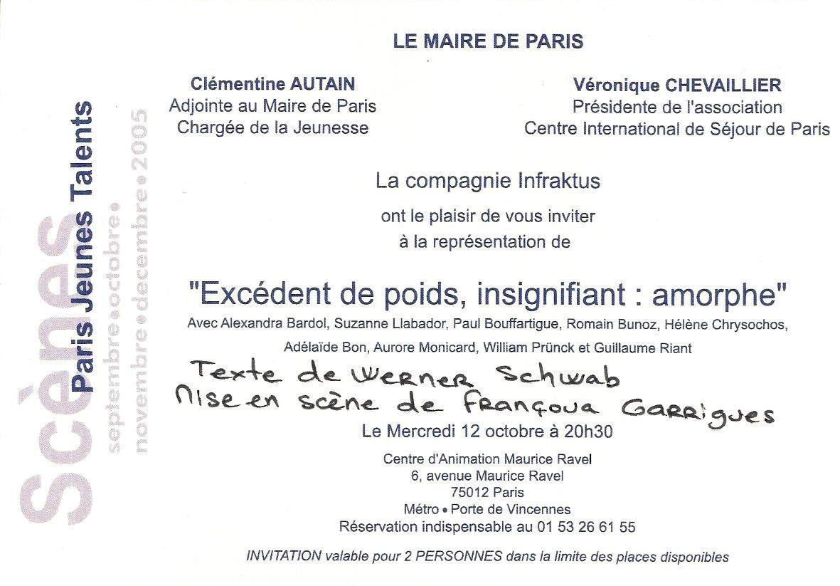 EXCEDENT DE POIDS, INSIGNIFIANT : AMORPHE - Compagnie InfraKtus (Centre d'animation Maurice Ravel)