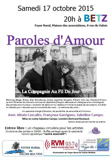 PAROLES D'AMOUR - Au fil du jour (Foyer Rural du Valois Multien - Betz)