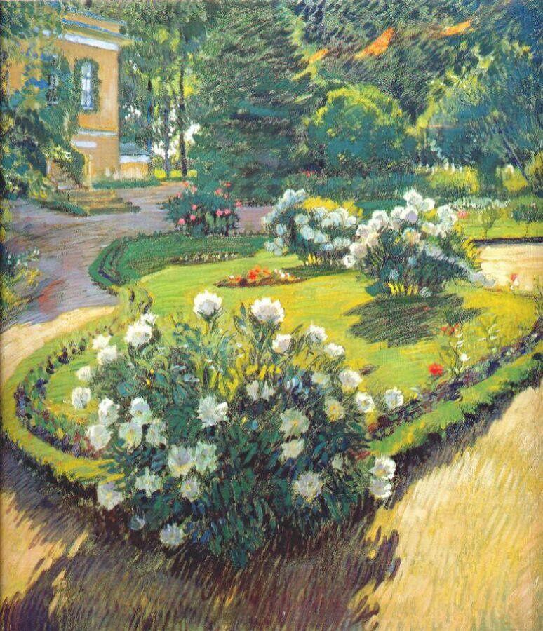 Сад 1910 : un jardin tranquille avec des roses blanches en bosquet, que demander de plus ?