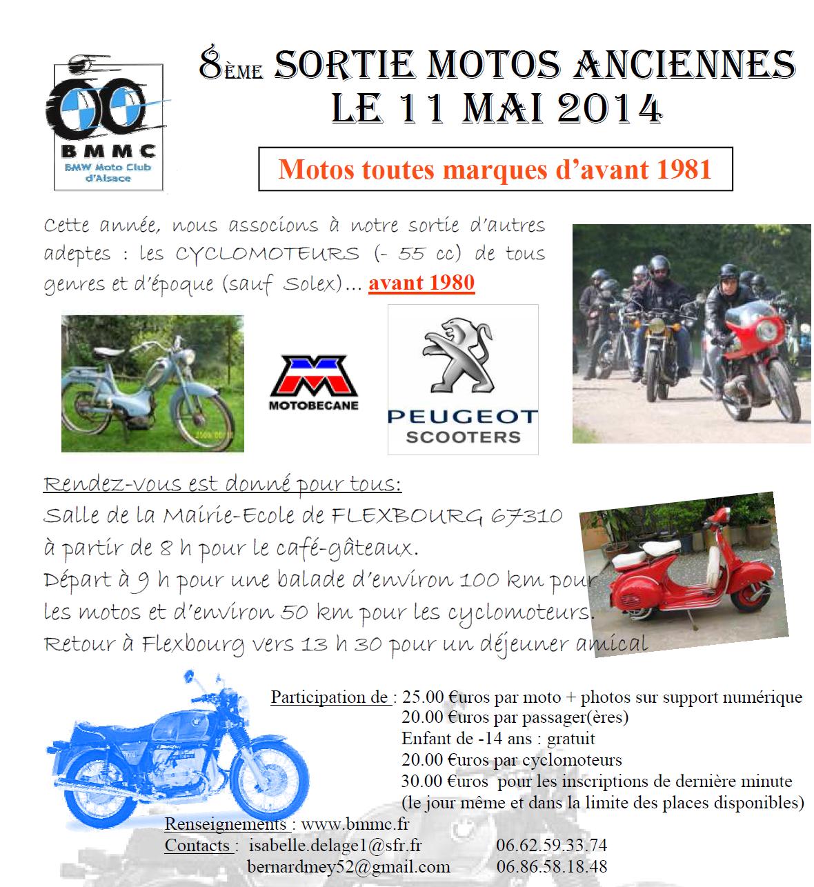 Bulletin d'inscription à la sortie moto - cyclo annuelle du BM Moto Club (BMMC) de Strasbourg en mai 2014