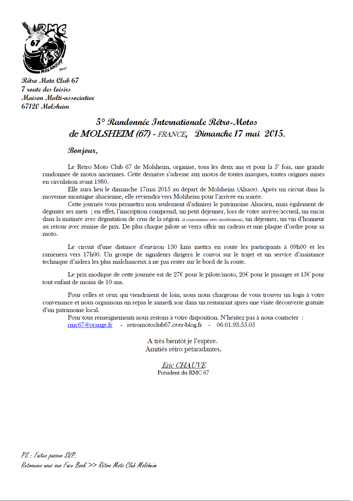 Lettre d'informations + feuille d'inscription