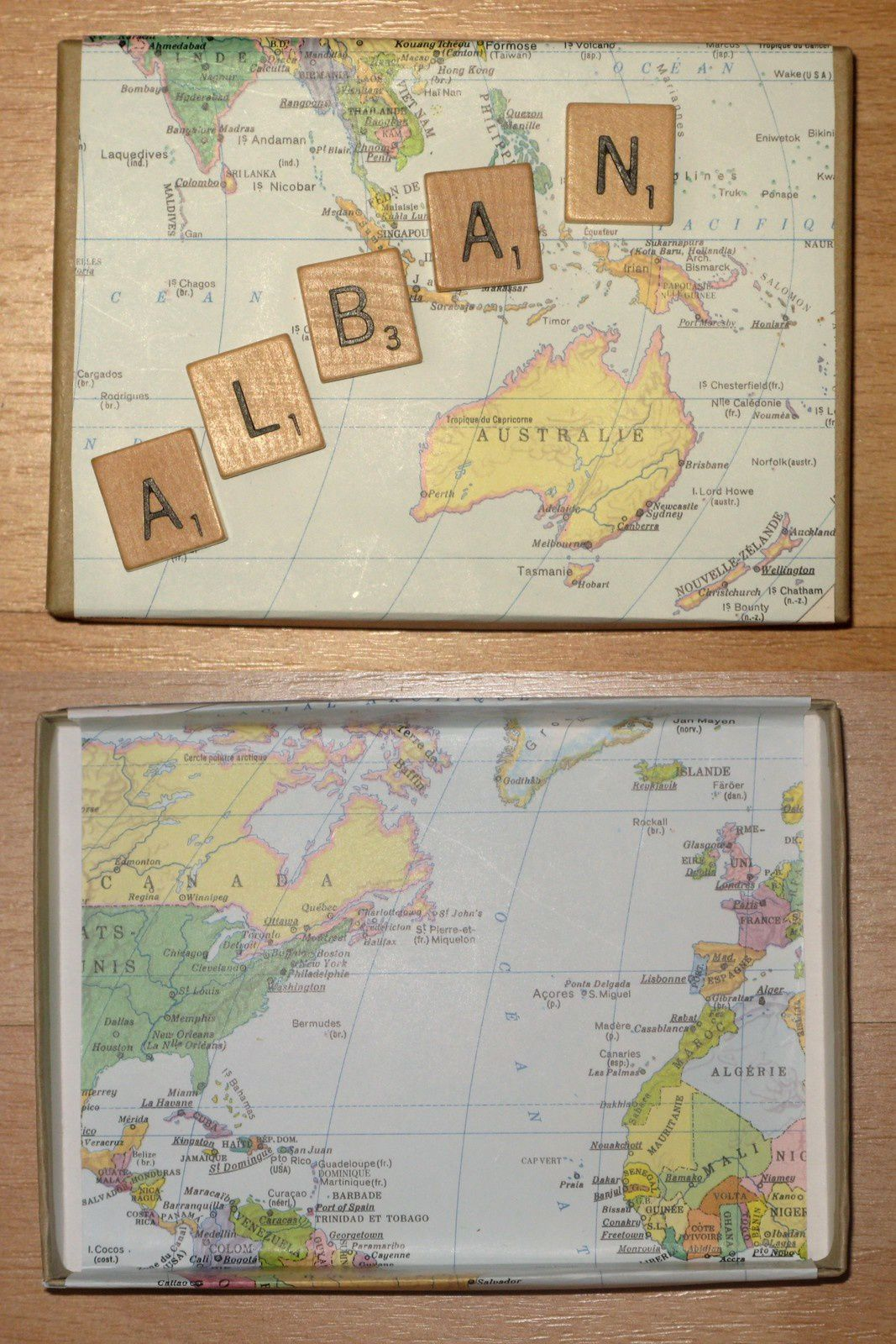 boite personnalisee, alban , carte australie canada- lettres-charlotteblabla blog-
