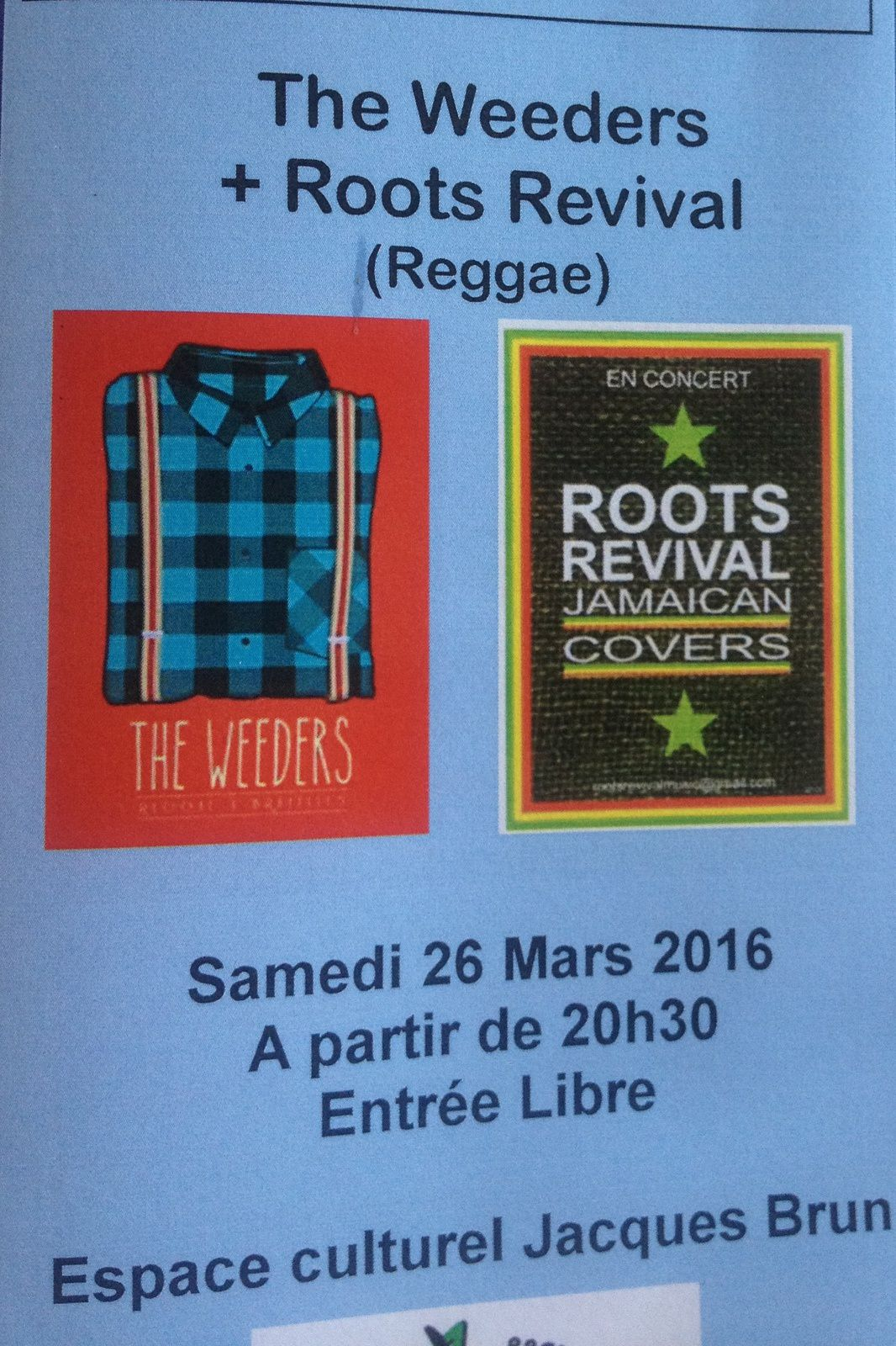 The Weeders + Roots Revival jamaicain  Covers  concert reggae egliseneuve-pres-billom