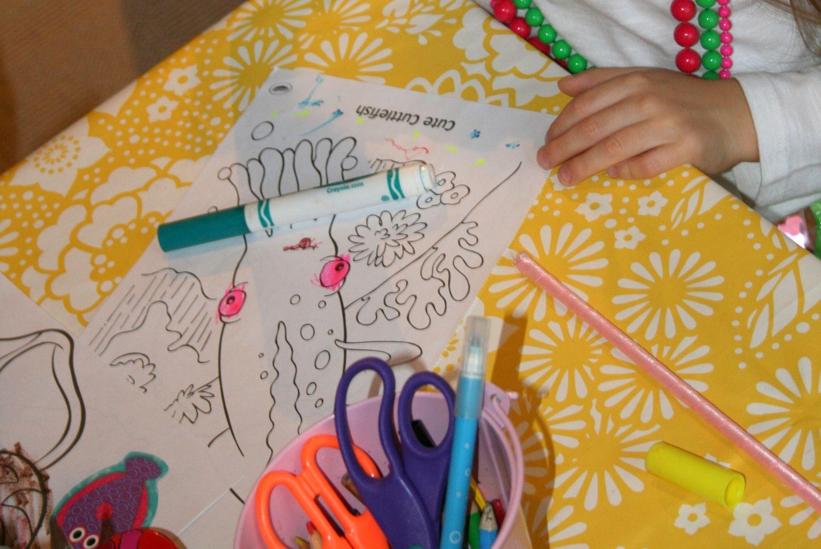 Coloriage thème marin -Anniversaire, fête d'enfants la chasse au trésor marin.